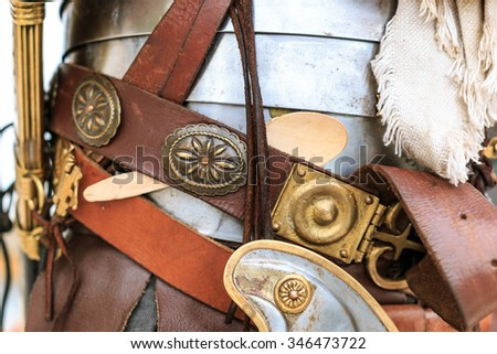 Ancient roman legionary kit closeup