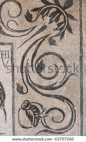 Ancient roman mosaic - stock photo