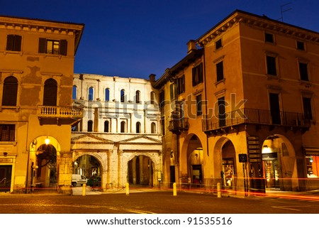 Ancient Roman Porta Borsari Gate in Verona, Italy - stock photo