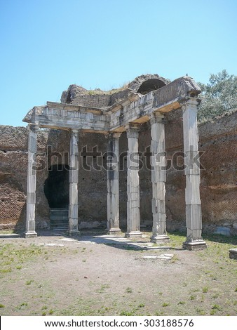 Ancient Roman ruins of Villa Adriano meaning Hadrian Villa in Rome, Italy