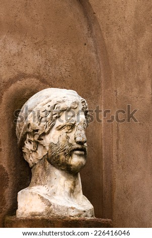 Ancient roman sculpture in Rome Italy