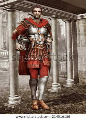 Ancient Roman soldier standing in a temple with marble columns