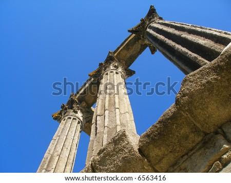 Ancient Roman temple in Evora, Portugal