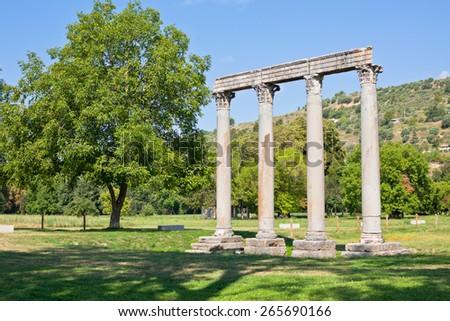Ancient Roman Temple of Apollo in Riez, Alpes de Haute Provence, France - stock photo