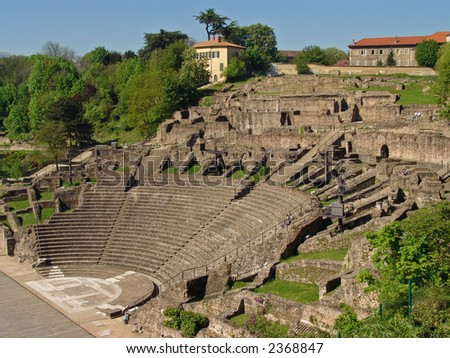 ancient rome arena. lyon. france - stock photo