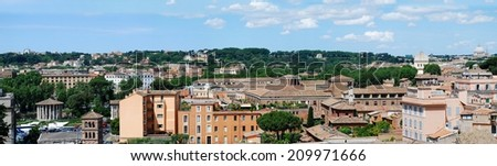 Ancient Rome city aerial view from Palatino hill. Italy.
