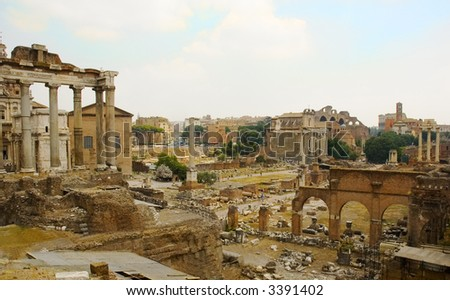 Ancient Rome in the famous historical site of the roman forum