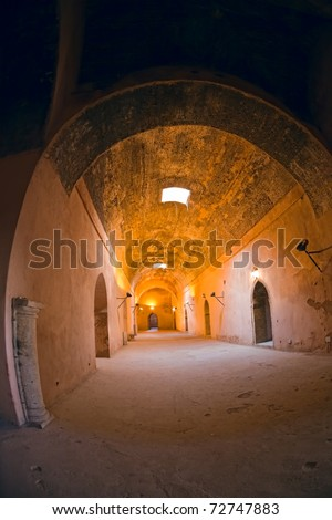Ancient royal stables in Meknes (Miknasa), Morocco. Fish-eye lens shot.