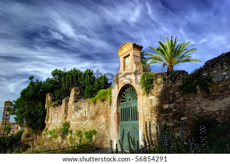 Ancient ruin at Palatino complex in Rome, Italy - stock photo