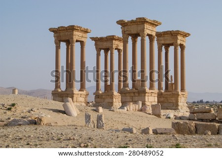 Ancient ruin city of Palmyra in Syria a UNESCO world heritage site of history - stock photo