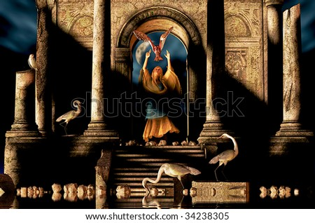 Ancient Ruins a mysterious woman dressed in blue and gold cloth, releases a owl to the night. Surrounded by owls and Egrets water reflecting and Crescent Moon. - stock photo