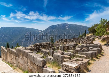 Ancient ruins in Delphi, Greece in a summer day