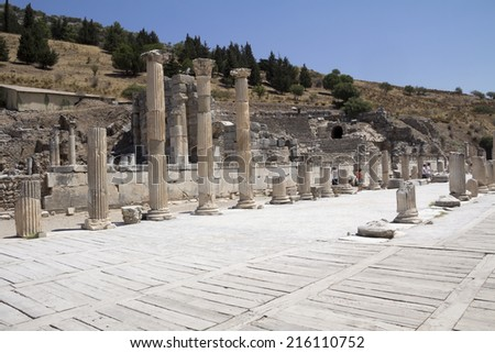 Ancient ruins in Ephesus Turkey - archeology - stock photo