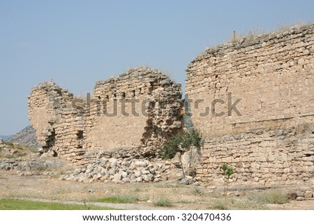 Ancient ruins in Hierapolis, Pamukkale, Turkey. UNESCO World Heritage - stock photo