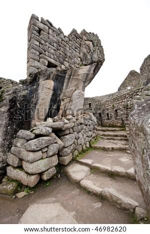 Ancient ruins in Machu Picchu Village - stock photo
