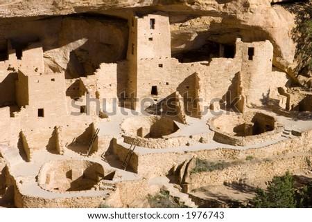ancient ruins in Mesa Verde, Colorado - stock photo