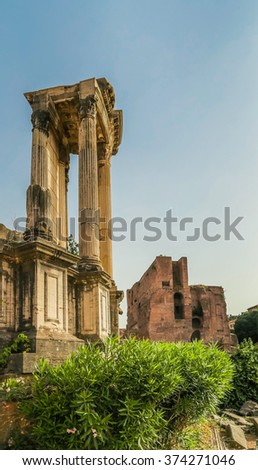 Ancient ruins in Roman Forum, Rome, Italy. Colonnade and historical monuments