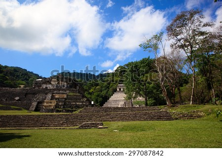 Ancient ruins in the Mayan city of Palenque Chiapas, Mexico. Inscription Temple and The Palace.