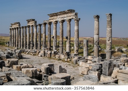 Ancient ruins of city of Apamea in Syria