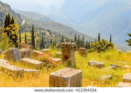 Ancient ruins of Delphi, an archaeological site in Greece, at the Mount Parnassus. Delphi is famous by the oracle at the sanctuary dedicated to Apollo. UNESCO World heritage