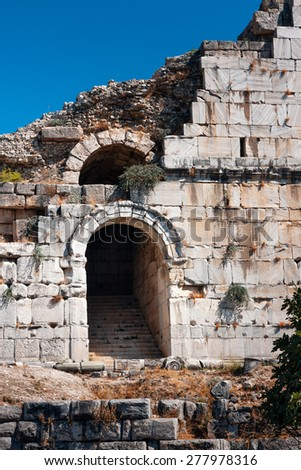 Ancient ruins of Miletus, theater entrance - stock photo