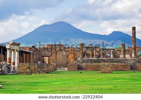 Ancient ruins of Pompeii and volcano Vesuvius, Italy - stock photo