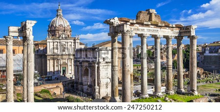 Ancient Ruins of Rome - Imperial Forum - Italy - stock photo