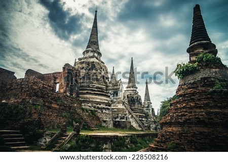 Ancient ruins of the old temple in Ayutthaya city, Thailand