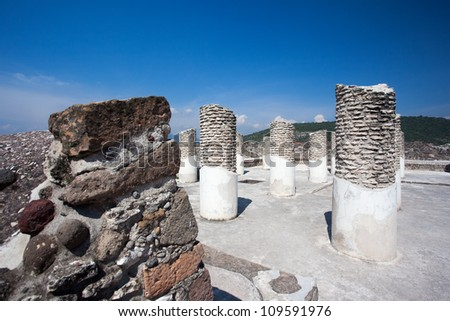 Ancient ruins of Tula de Allende, home of the Atlantean figures and  the characteristic chacmools. In the state of Hidalgo, Mexico. - stock photo