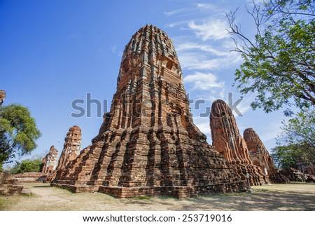 Ancient ruins of Wat Phra Sri Sanphet ayutthaya thailand  - stock photo