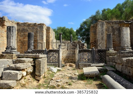 Ancient ruins of work shop of Pheidias shown in Olympia. were was made statue of Zeus, now UNESCO world heritage site  - stock photo