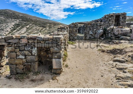 Ancient ruins on the Isla del Sol on the Lake Titicaca in Bolivia - stock photo