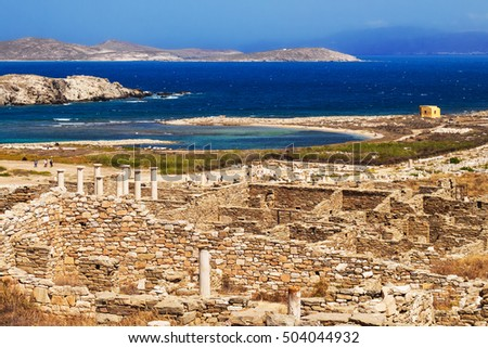 Ancient ruins on the island of Delos, Greece