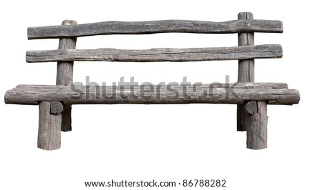Ancient rural bench from logs. Isolated over white. Roughly hammered together wooden bench. - stock photo