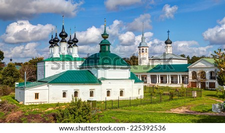 Ancient Russian churches in Suzdal. Golden Ring of Russia - stock photo