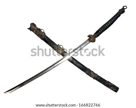 ancient samurai sword with sword sheath  - stock photo