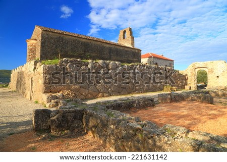 Ancient sanctuary of Hades and a Byzantine church built on top of it, Greece - stock photo