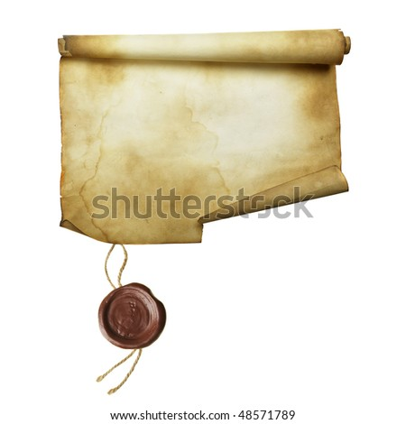 Ancient scroll with seal isolated over a white background - stock photo