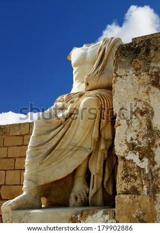 Ancient  sculpture of Caesar. Caesarea. Israel - stock photo