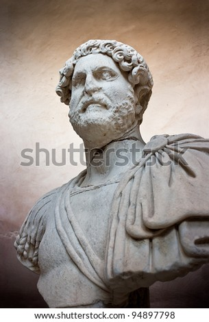 Ancient sculpture of the man from Roman times - stock photo