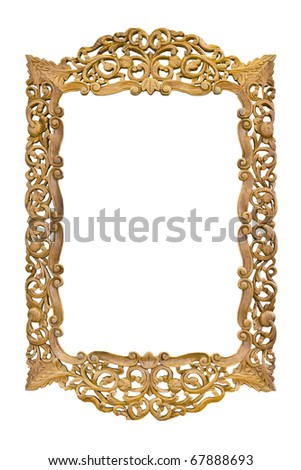 ancient sculpture wood photo image frame isolated - stock photo