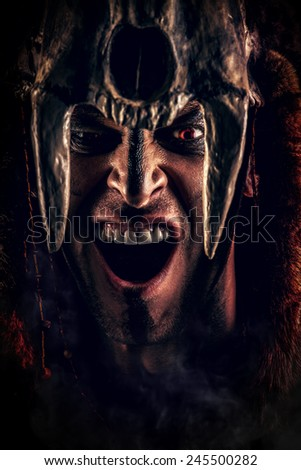 Ancient shaman warrior. Ethnic costume. Paganism, ritual. - stock photo