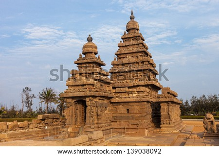 Ancient Shore temple of Mahabalipuram, Tamil Nadu, India - stock photo