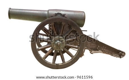 Ancient Spanish howitzer cannon ( Obus de bronce de 21cm Plasencia Md. 1885/91 ) isolated on white - stock photo