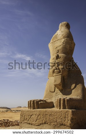 ancient Sphinx near temple Wadi El Seboua in the Sahara desert, Egypt, Africa