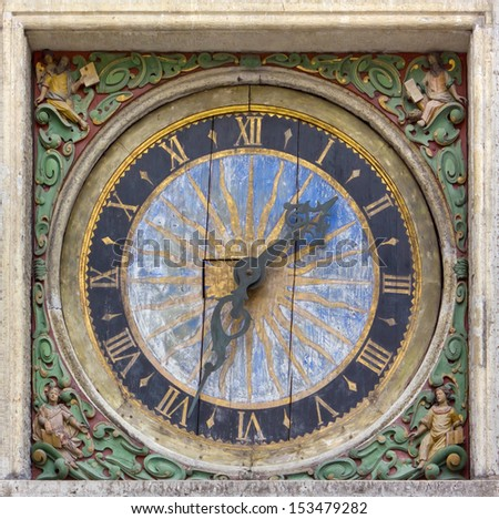 Ancient Square Wall Clock with Roman Numerals
