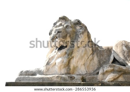 Ancient statue of a lion in Leeds, England - stock photo