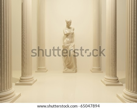 Ancient Statue of a nude Venus in the middle of perspective pillars - stock photo