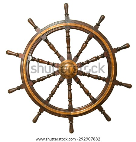 Ancient steering wheel from the sailing vessel on isolated white background - stock photo
