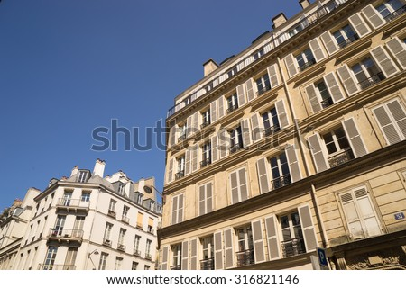 ancient stone building in Paris, France  - stock photo